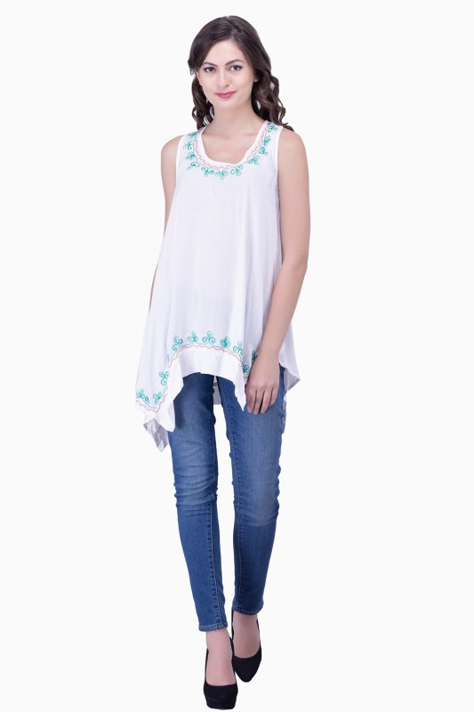 Firstdate Casual Sleeveless Self Design Women's White Top