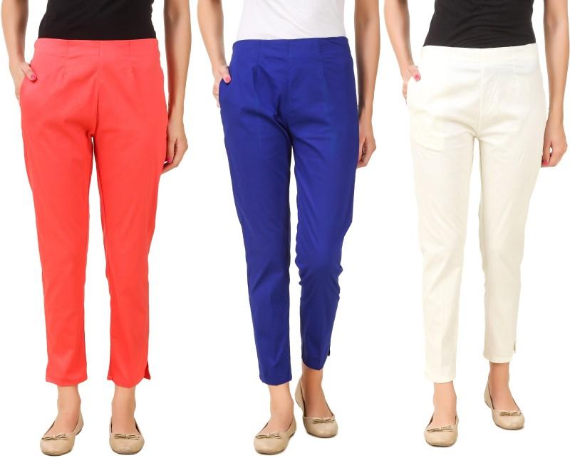 Q-Rious Regular Fit Women's Cream, Blue, Pink Trousers