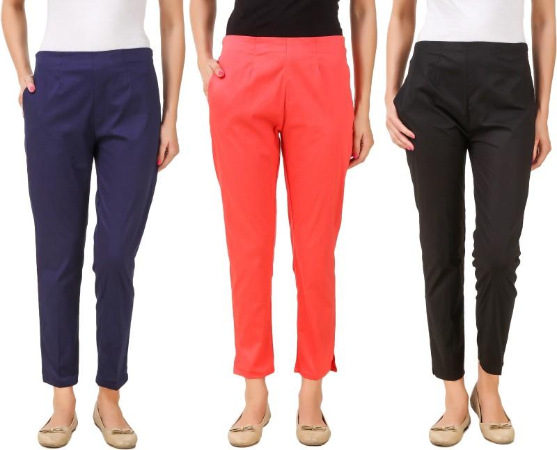 Q-Rious Regular Fit Women's Black, Pink, Dark Blue Trousers