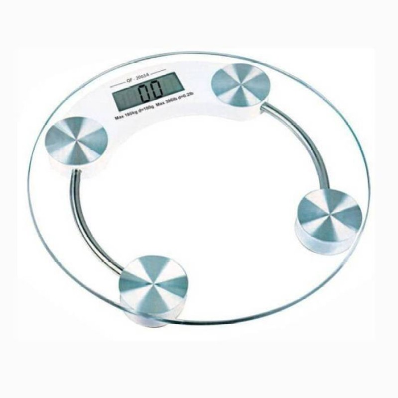 Mezire ™Round Thick Tempered Glass Electronic Digital Body Weight Weighing Scale  (Transparent) Weighing Scale(Transparent)