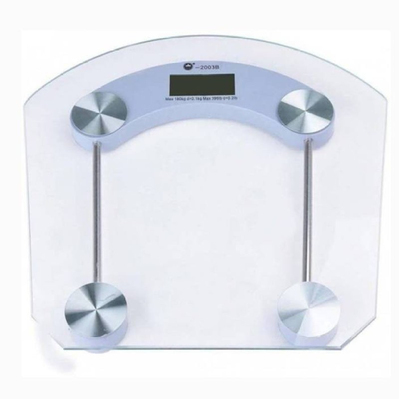 Mezire Digital Personal Body Weighing Scale with Temperature and Battery Indicator White display 180 kg Weighing Scale Weighing Scale(Transparent)
