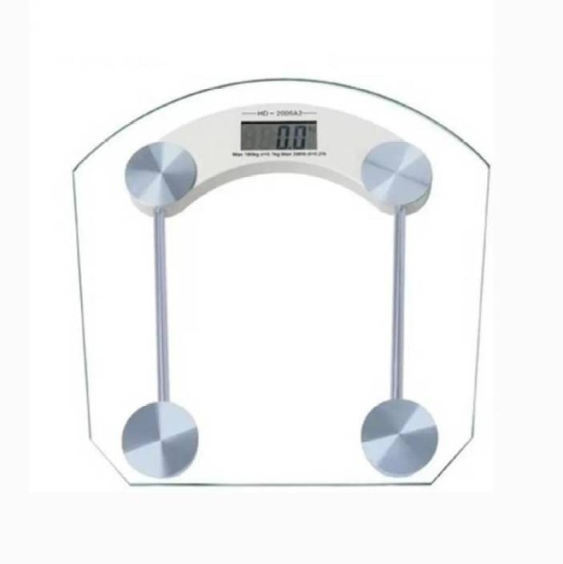 Mezire 8MM Square Glass Step-on Activation Weighing Scale (White) Weighing Scale(Transparent)