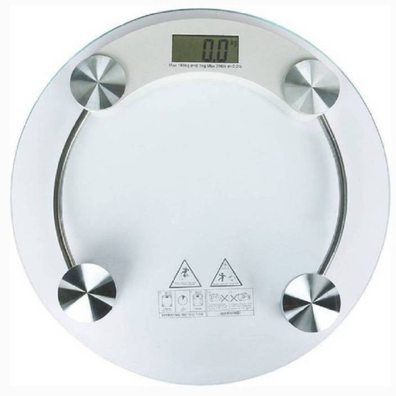 Mezire ®Digital 8MM Thick Glass Weighing Scale (White)  Weighing Scale(Transparent)