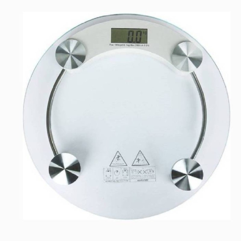Mezire Personal Weight Machine 8mm Round Glass Weighing Scale (Transparent) Weighing Scale (White)  Weighing Scale(Transparent)