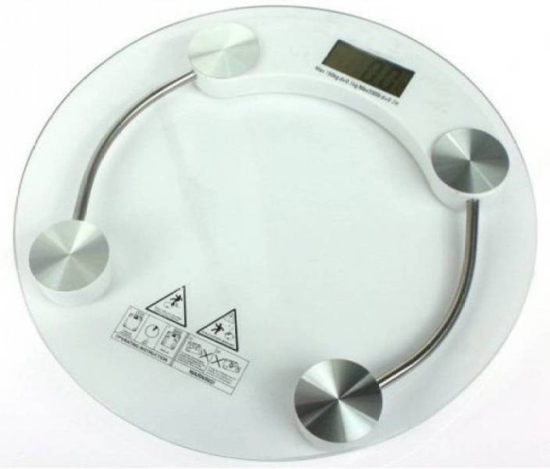 Mezire ™ Digital Bathroom 8MM Thick Glass Weighing Scale (White) Weighing Scale(Transparent)