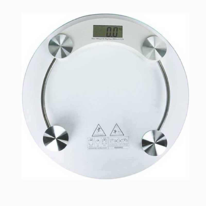 Mezire ™Personal Health Bathroom 8MM Round Transparent Glass Step-on Activation Digital Weight Machiine Weighing Scale (White) Weighing Scale  (Transparent) Weighing Scale(Transparent)