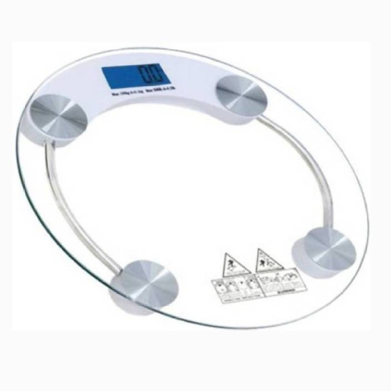 Mezire ®Electronic Durable Digital Round Weighing Scale (White) Weighing Scale(Transparent)