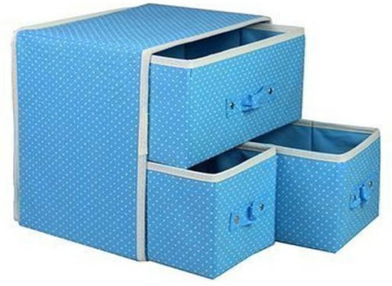 Honestystore Foldable Fabric Storage Box Organizer, 3 Drawer, multi color Closet Divider (Fabric, Plastic) Drawer Divider (Fabric) Drawer Divider(Fabric)