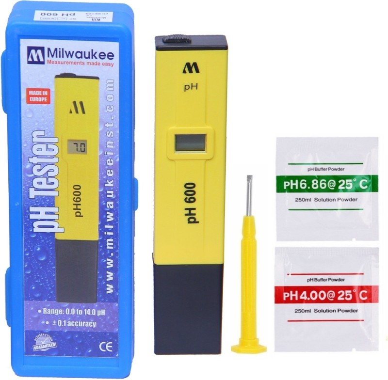 BalRama Milwaukee Instruments pH600 pH Meter Pocket PH Tester ph 600 with Box & Buffer Powder Solution Digital PH Meter pH Hydrotester Handheld Portable Pen Type Water Quality Tester For Measuring & Testing Applications Such As Hydroponics & Gardening, Po