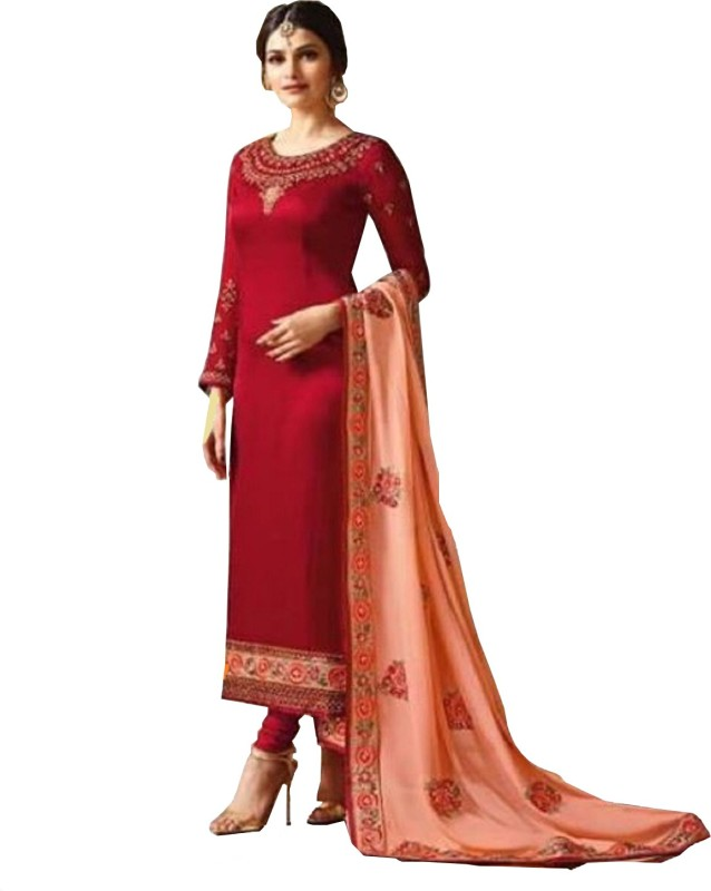 D.S.FABRICS Georgette Embroidered Semi-stitched Salwar Suit Dupatta Material