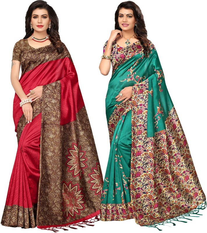 Ishin Printed Bollywood Poly Silk Saree(Pack of 2, Multicolor)