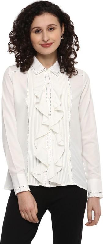 Moda Elementi Women Solid Casual White Shirt