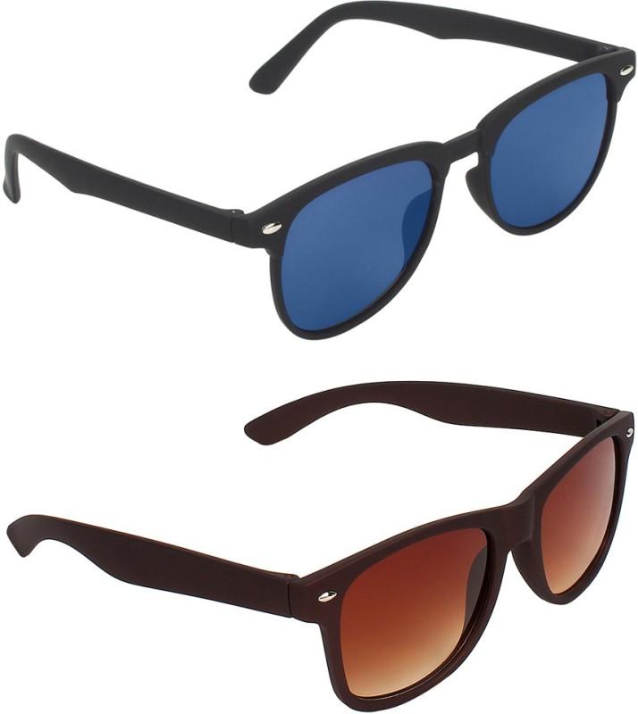 Zyaden Rectangular, Wayfarer Sunglasses(Blue, Brown) image