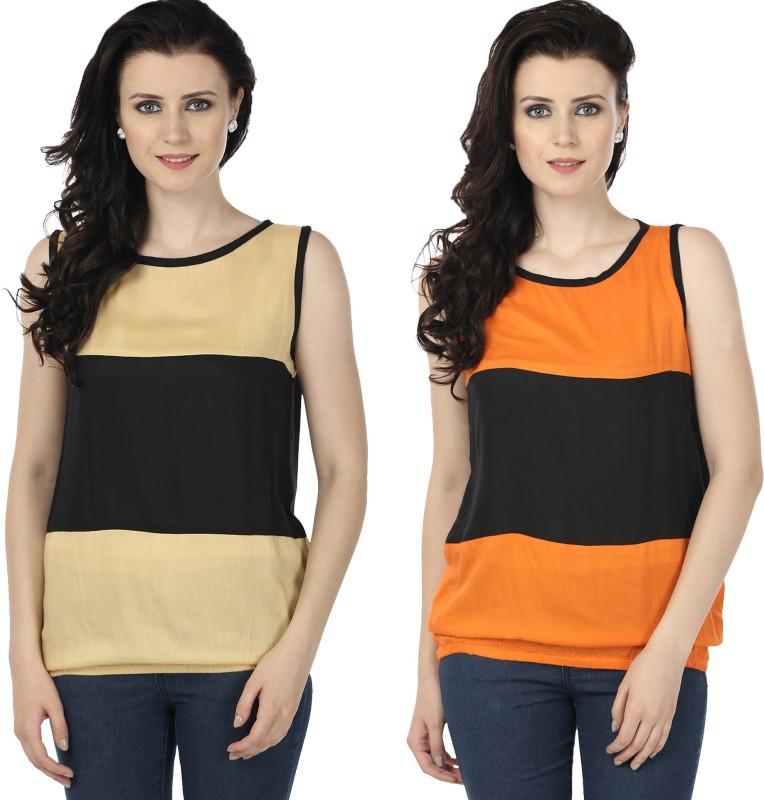 Tulip Casual Sleeveless Printed Women's Beige, Orange Top
