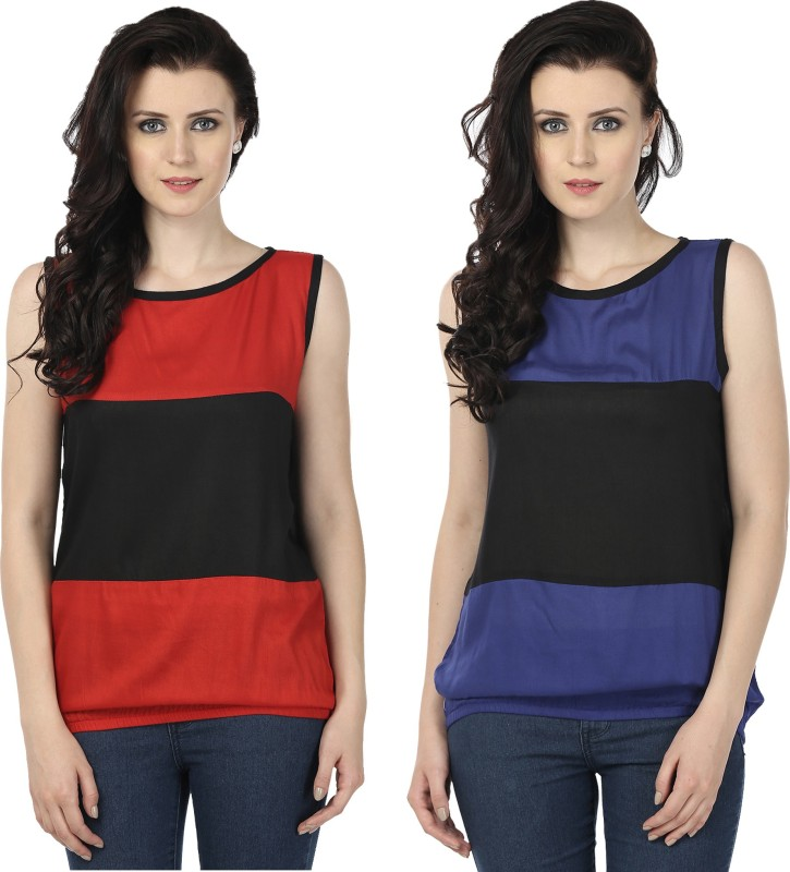 Tulip Casual Sleeveless Printed Women's Red, Blue Top