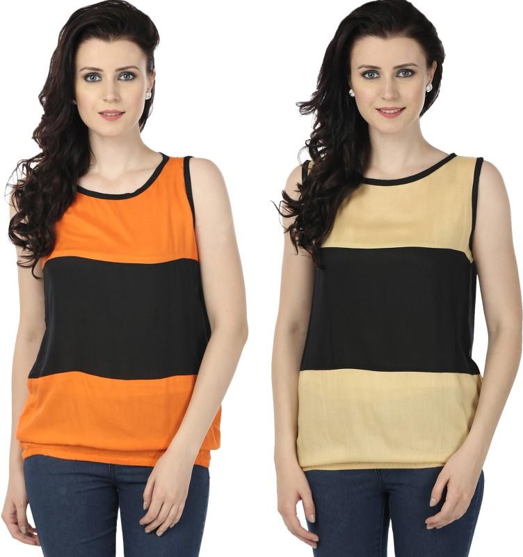 Tulip Casual Sleeveless Printed Women's Orange, Beige Top