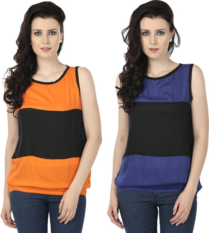 Tulip Casual Sleeveless Printed Women's Orange, Blue Top
