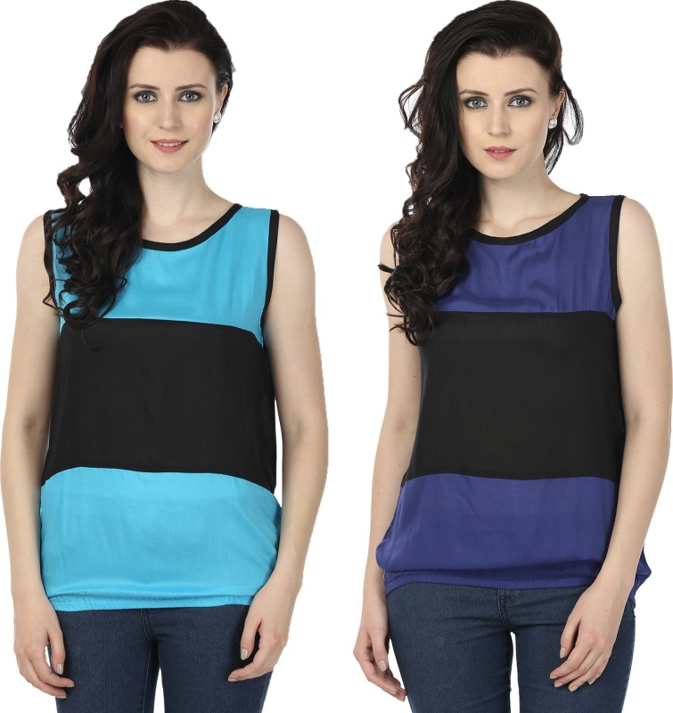 Tulip Casual Sleeveless Printed Women's Blue, Blue Top