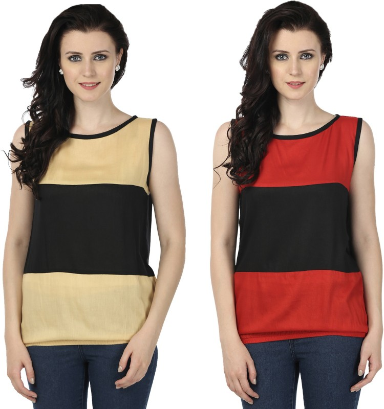 Tulip Casual Sleeveless Printed Women's Beige, Red Top