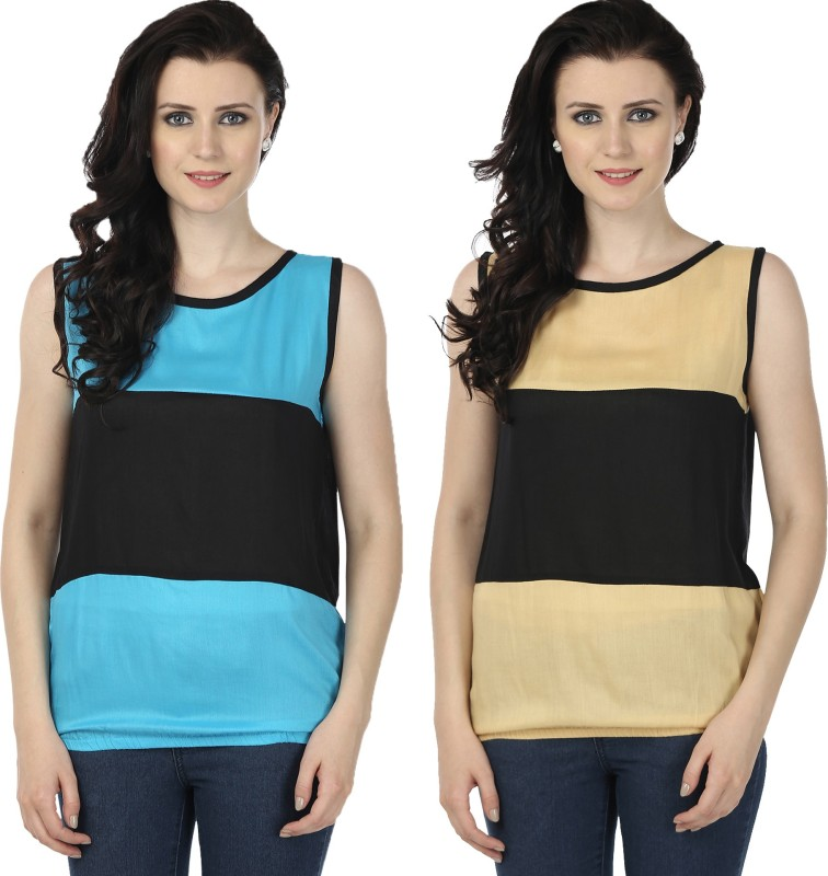 Tulip Casual Sleeveless Printed Women's Blue, Beige Top