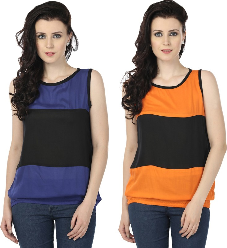 Tulip Casual Sleeveless Printed Women's Blue, Orange Top