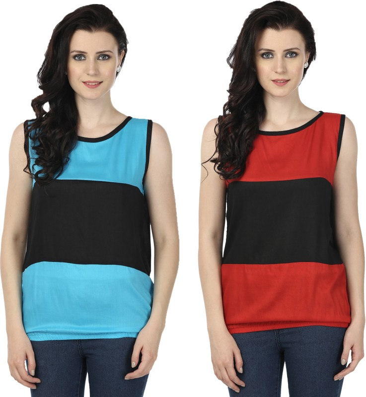 Tulip Casual Sleeveless Printed Women's Blue, Red Top