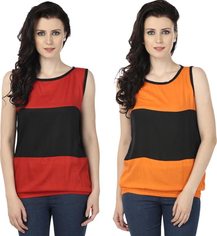 Tulip Casual Sleeveless Printed Women's Red, Orange Top