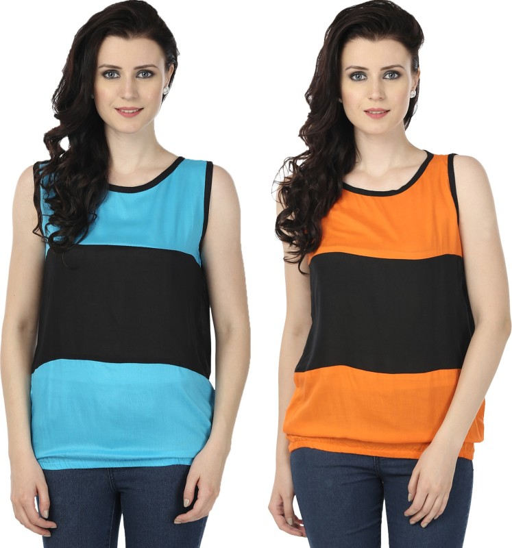 Tulip Casual Sleeveless Printed Women's Blue, Orange Top
