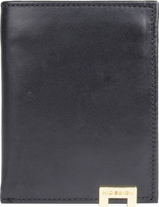 Hidesign Men Black Genuine Leather Wallet(1 Card Slot)