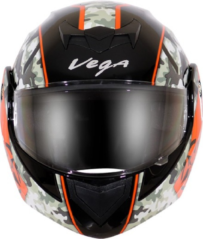 VEGA Crux coma Motorbikes Helmet (Black with orange) Motorbike Helmet(Black with Orange)