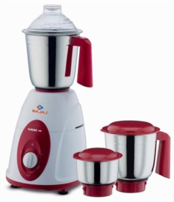 Bajaj new Classic 750 W Mixer Grinder(Red,White, 3 Jars)