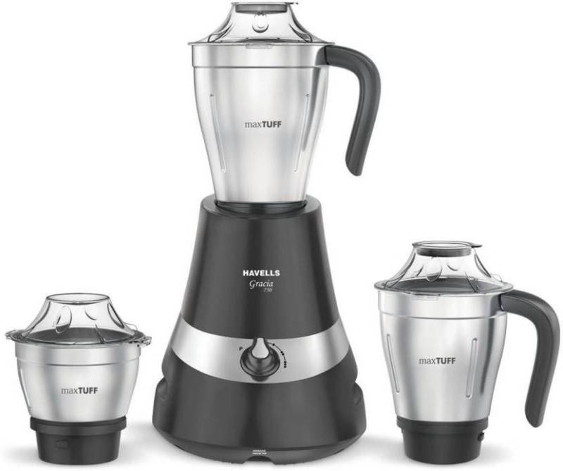 Havells gracia 750 Mixer Grinder(Grey, 3 Jars)