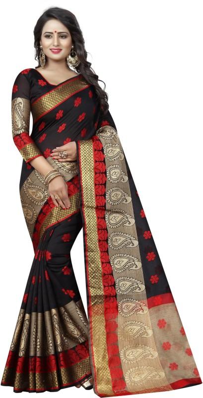 SATYAM WEAVES Self Design Banarasi Cotton Silk Saree(Black)