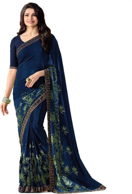 Maxthon Fashion Digital Prints, Embroidered, Plain, Printed Bollywood Georgette Saree(Blue)