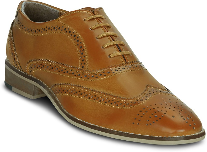 Get Glamr Dunbare Wingtip Lace Up For Men(Tan)