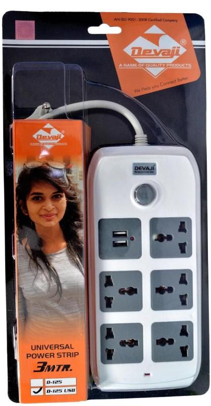 Devaji Universal - 2 USB + 5 Socket Surge Protector(White)