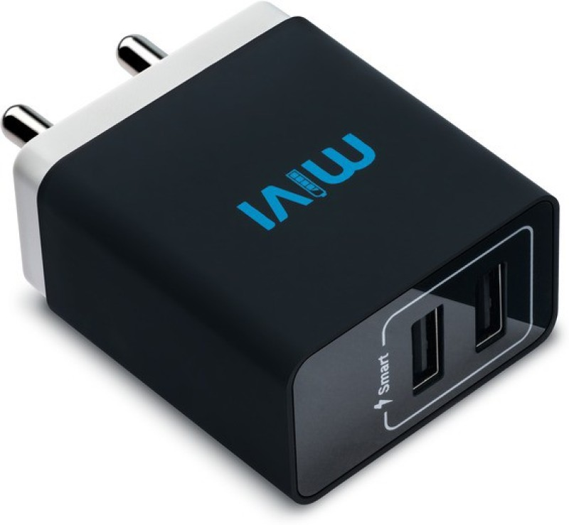 Mivi 3.1A Dual Port Smart Wall Mobile Charger(Black)