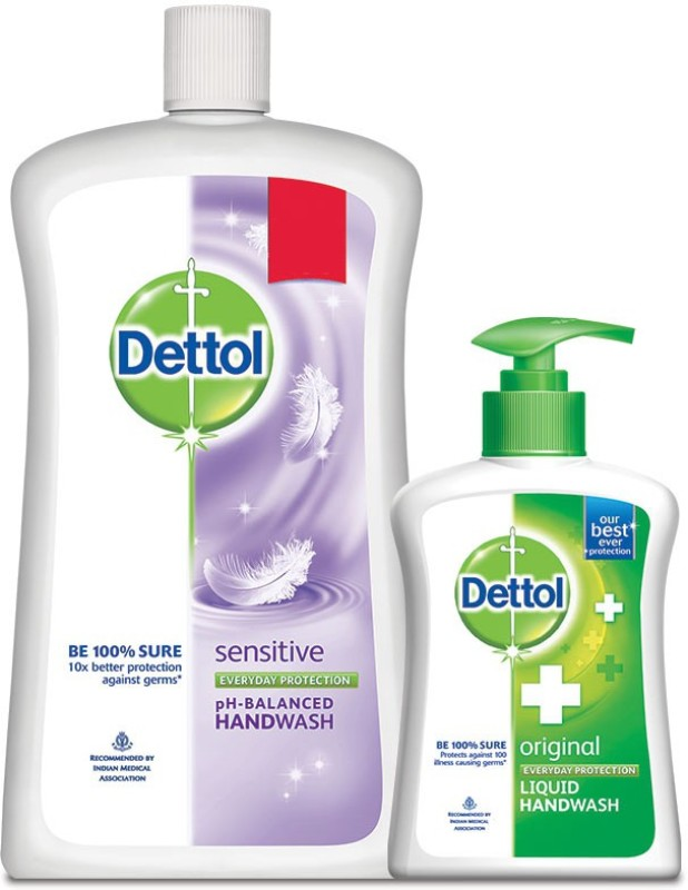 Dettol Liquid Soap Jar Sensitive +Dettol(1100 ml, Bottle, Pack of 2)