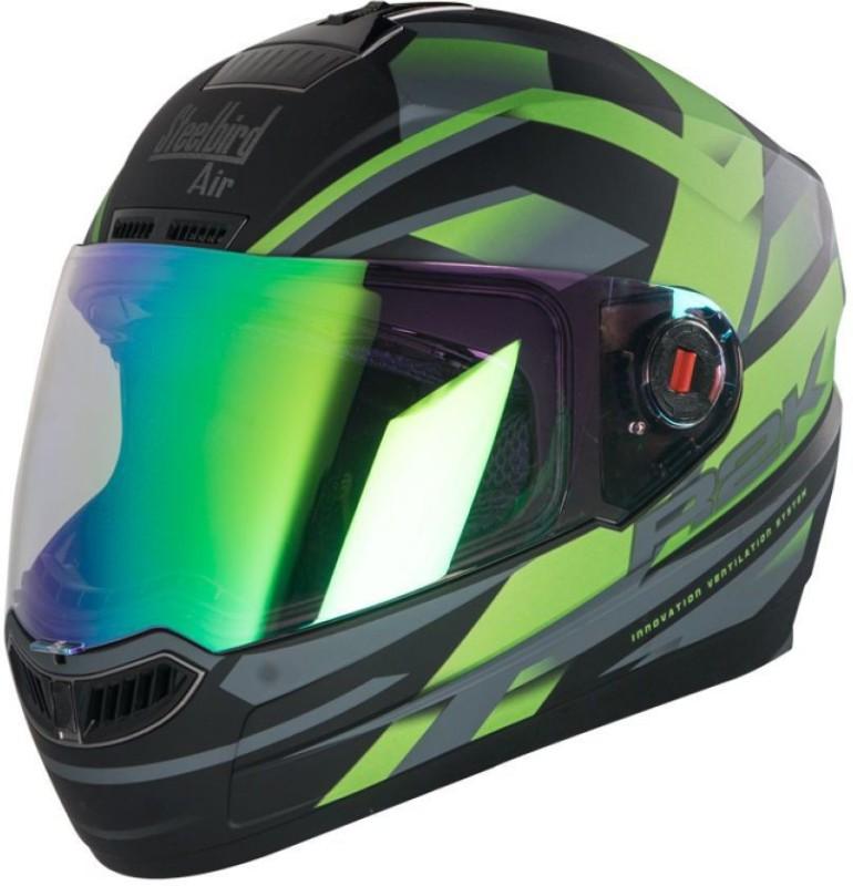 Steelbird AIR R2K NIGHT VISION Motorbike Helmet(MATT BLACK GREEN NIGHT VISION)
