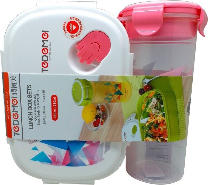 Tuelip Lunch Box Set With Water Bottle For School Going Kids Girls & Boys Pink 1 Containers Lunch Box(950 ml)