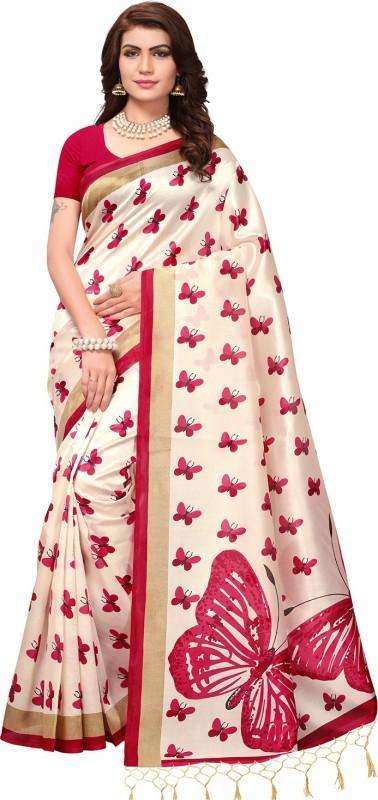 Ratnavati Printed, Animal Print Daily Wear Art Silk Saree(Cream, Pink)