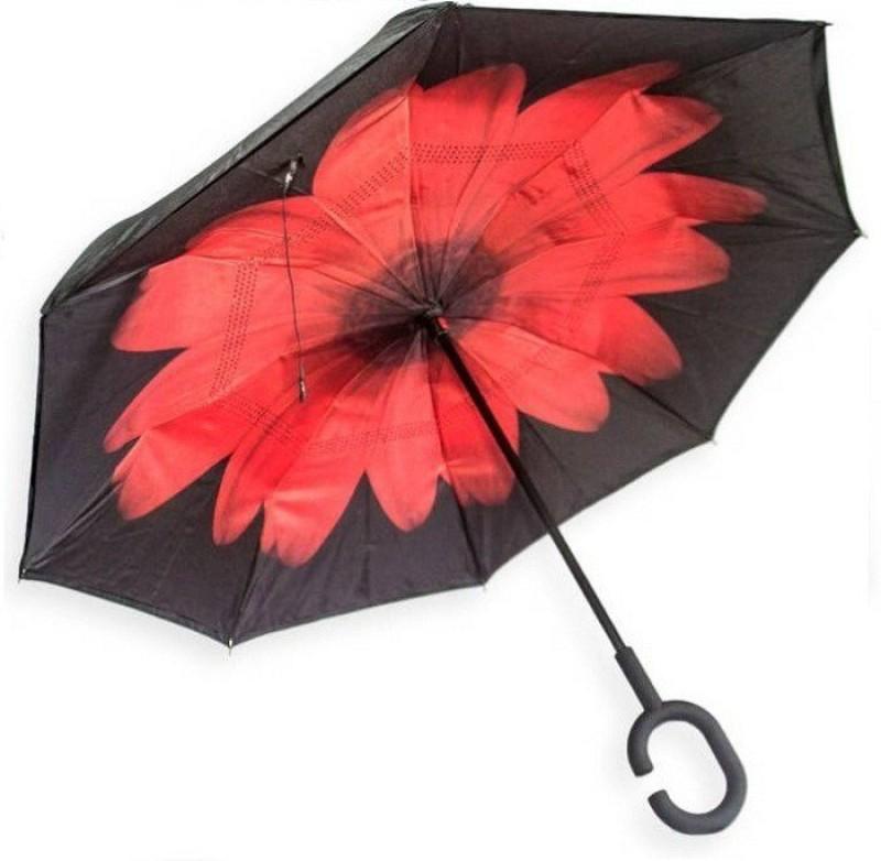 ELEGANTSHOPPING Double Layer Wind Proof, UV Proof Reverse Folding Umbrella with C Shape Handle Umbrella (Red & Black) Umbrella(Red, Black)