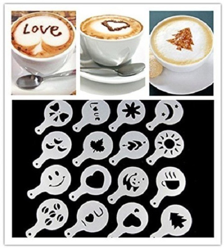 Drake Coffee molds stencils Template Strew Pad Duster Spray Art 16 pcs (Random Style) Coffee Stencils(Pack of 16)