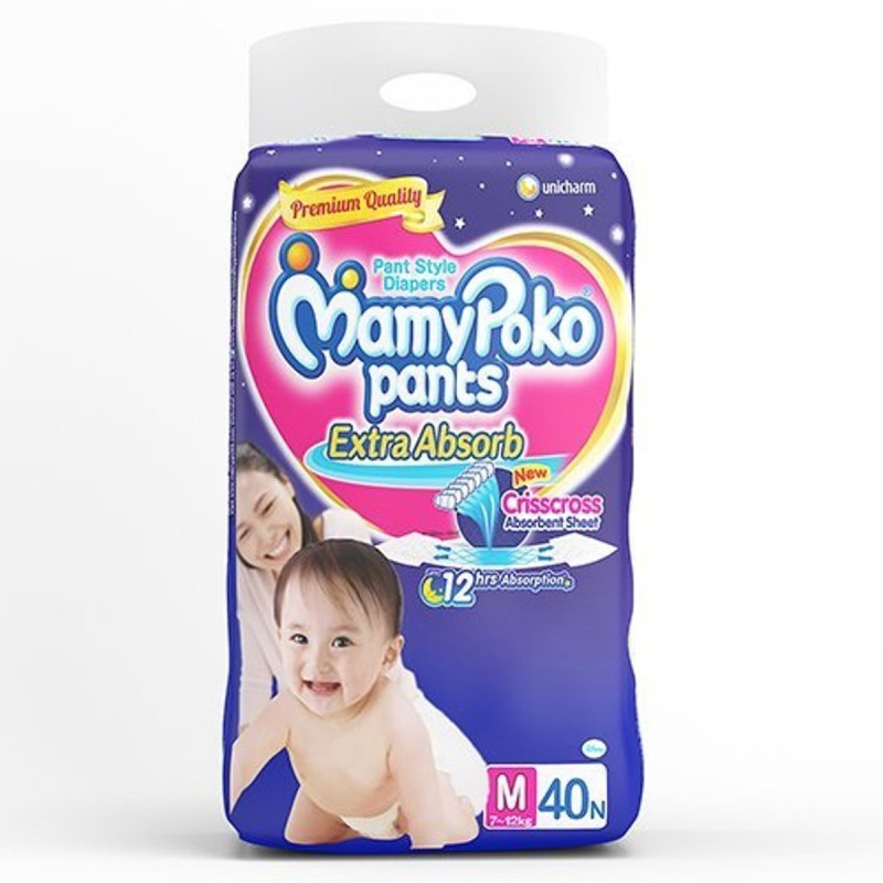 MamyPoko Extra absorb pants Medium Size 40 pieces - M(40 Pieces)