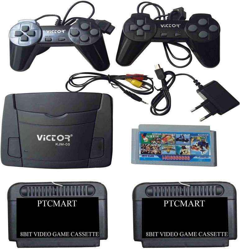 PTCMart 8 Bit Victor tv video game with 2 cassettes Extra NA GB with Mario(Multicolor)