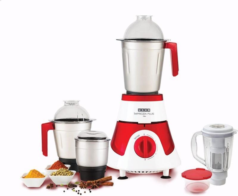 Usha Imprezza Plus 3775 750 W Mixer Grinder(white and red, 4 Jars)