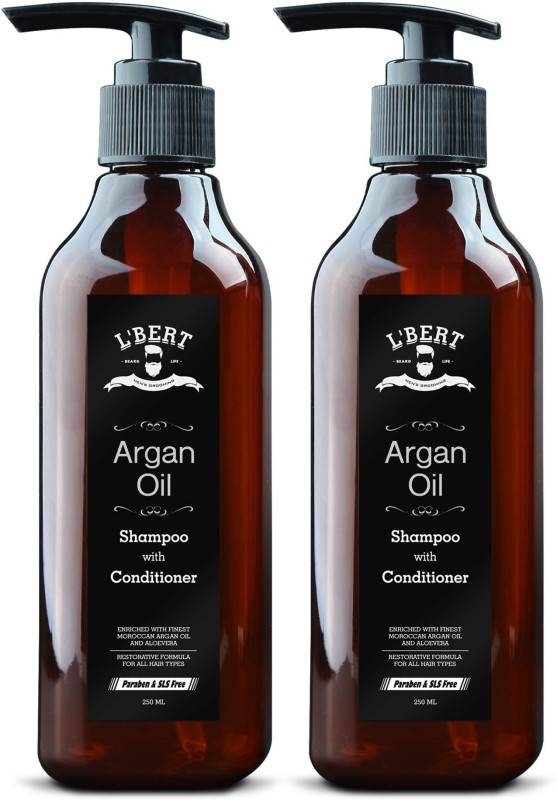 LBERT Moroccan Argan Oil Shampoo with Conditioner - 500 ML | Vitamin Enriched & Volumizing Treatment for Hair Loss, Damage, Thinning and Regrowth | Gentle on Curly & Color Treated Hair for Men & Women ( Combo Pack of 2 )(500 ml)