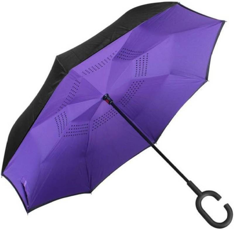 ELEGANTSHOPPING Folding Umbrella with C Shape Handle Umbrella (Multicolor) Umbrella(Multicolor)