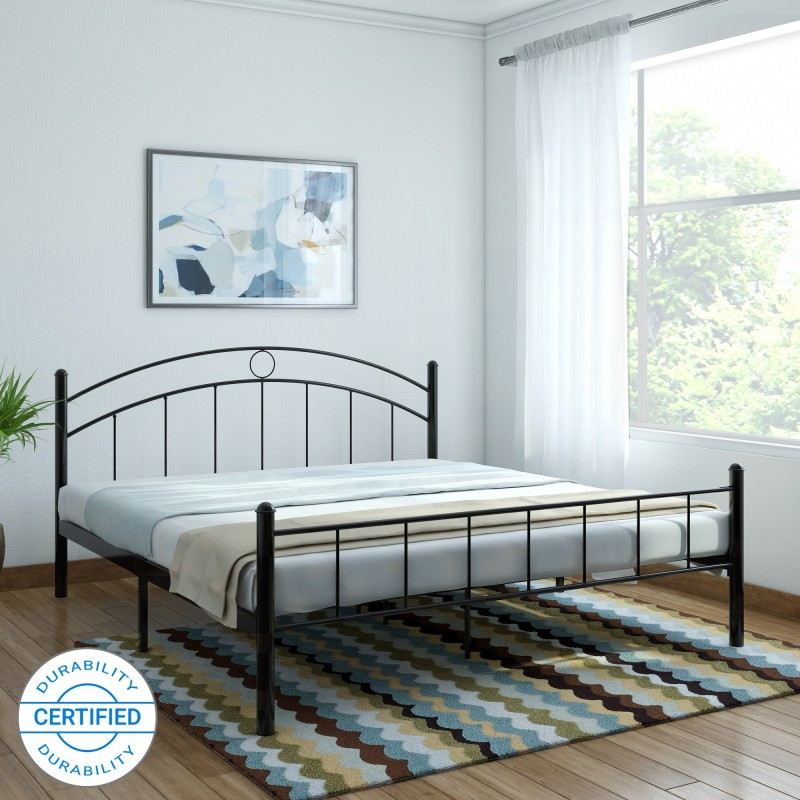 FurnitureKraft Nancy Metal King Bed(Finish Color - Black)