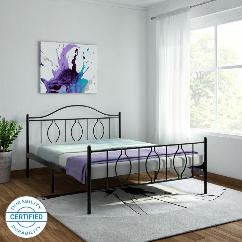 FurnitureKraft Baia Mare Metal Queen Bed(Finish Color - Black)